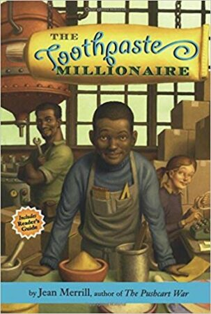 Toothpaste Millionaire book cover, showing a young African American boy with an apron working in a shop.